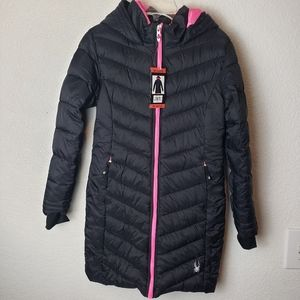 Spyder Kids Black long puffer Jacket NWT